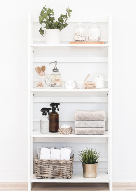 Bathroom cabinet filled with plants, all natural cleaning and beauty products