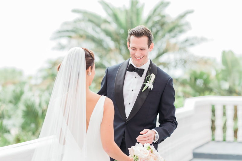 bride and grooms first look at Don Cesar wedding in St Petersburg Florida by Costola photography