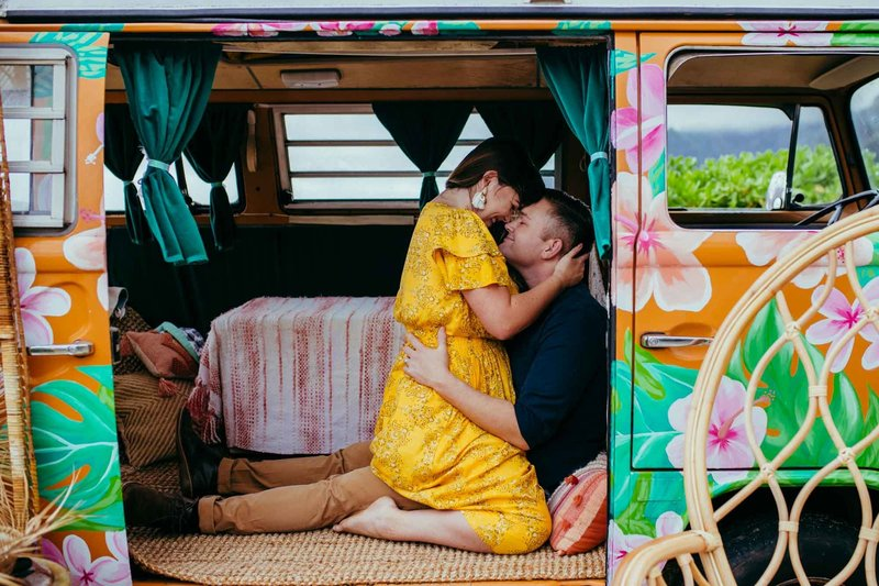 Couples Photography Oahu Hawaii,  couple cuddled up in a vw minivan