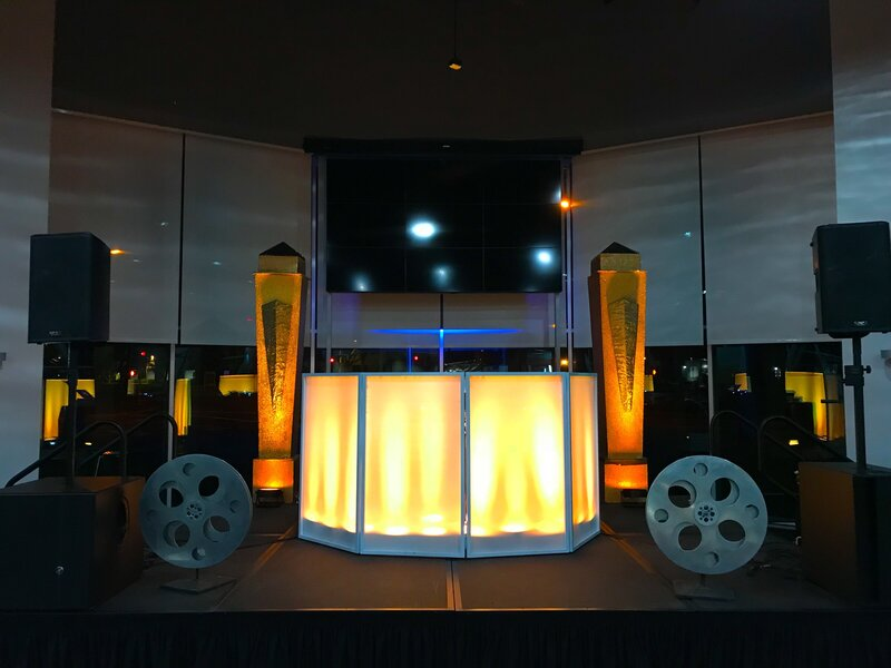 Los Gatos DJ - Illuminating DJ Booth - LinkedIn Corporate Event - Hollywood Nights - Amber Event Uplighting