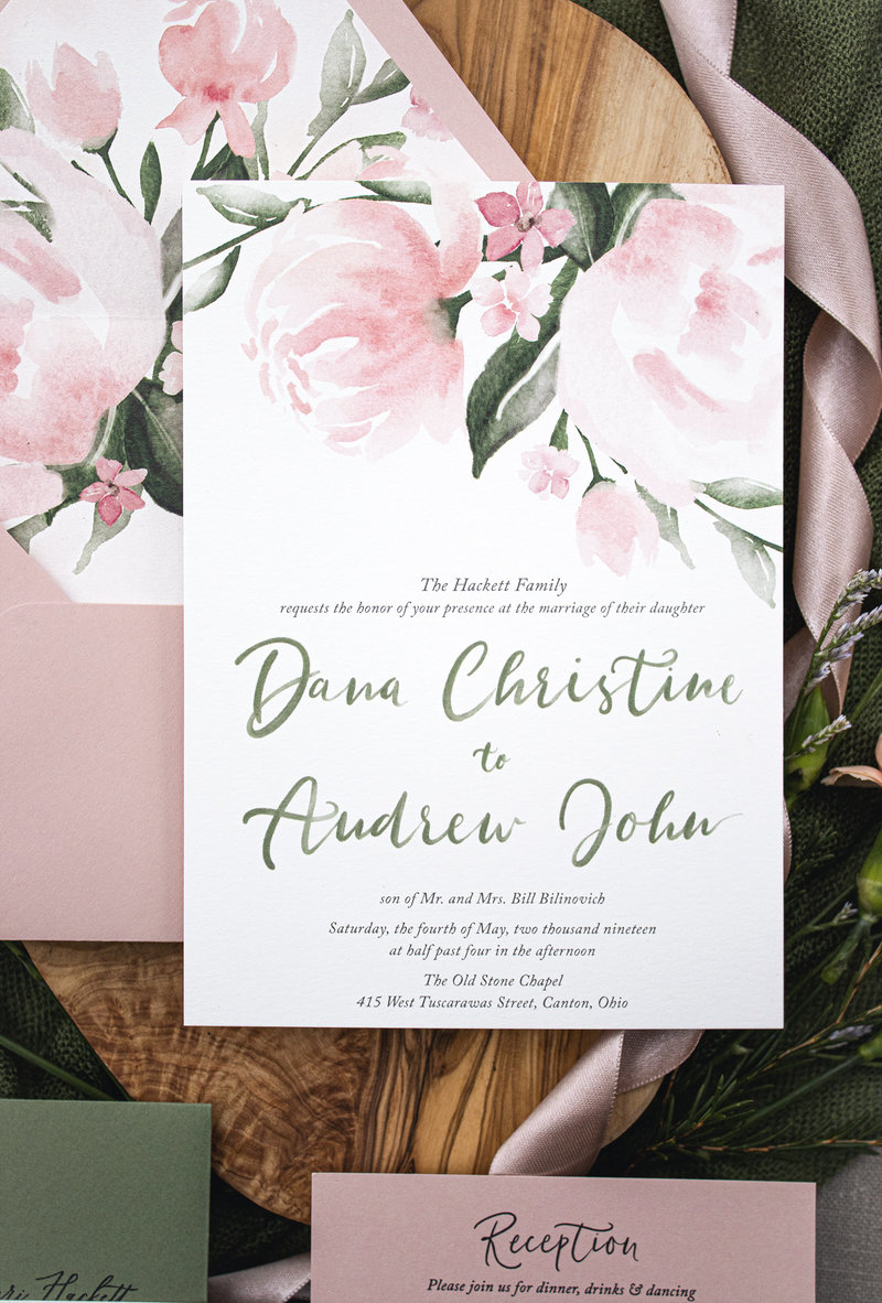 Invitation only shot of Peony Bliss by Brittney Nichole Designs. Shows the details of the watercolor hand-lettering and the beautiful watercolor peony florals at the top.