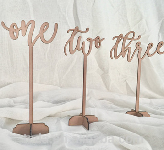 table numbers wooden