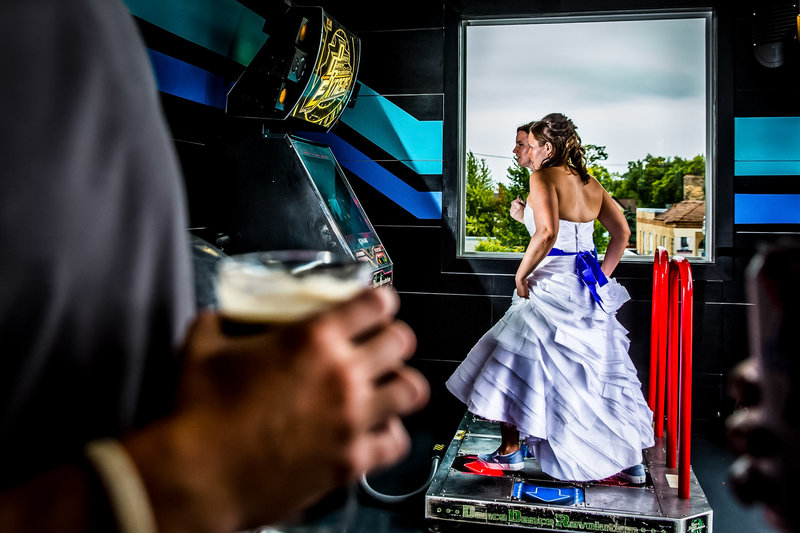bride playing DDR
