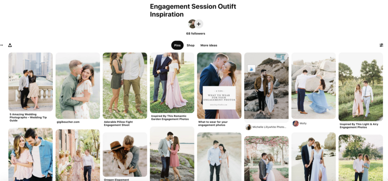 Screenshot of engagement session outfit inspiration