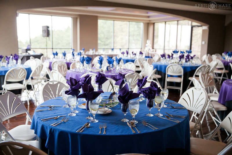 Downstairs reception room set up with blue and purple decor at Pines at Genesee