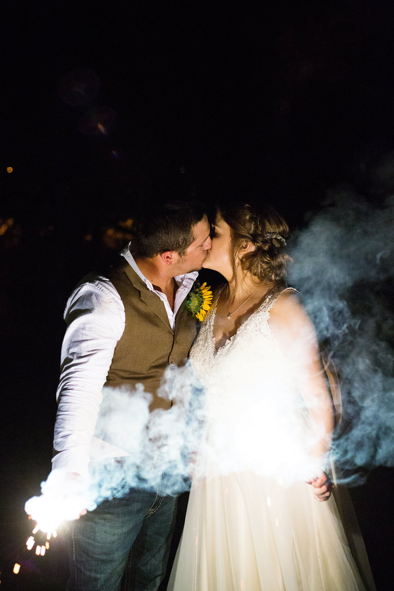 floresville bride and groom backlit kiss