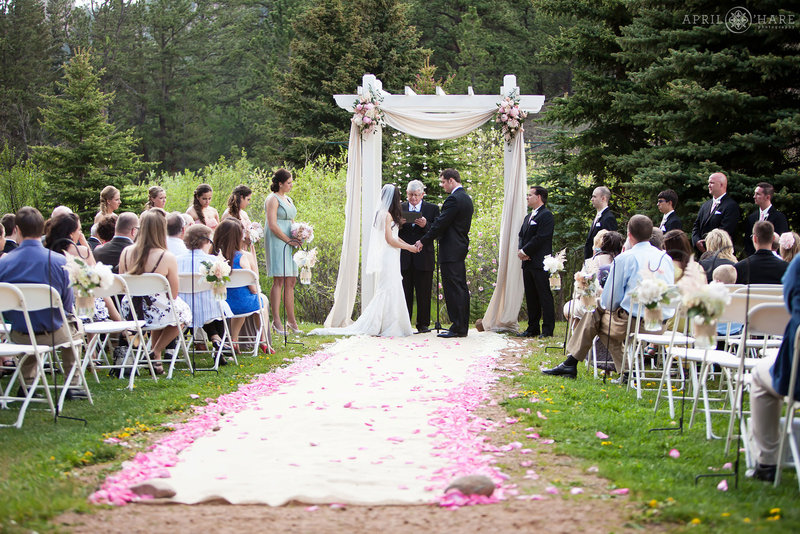 Pretty pink wedding outdoors at Mountain View Ranch in Colorado
