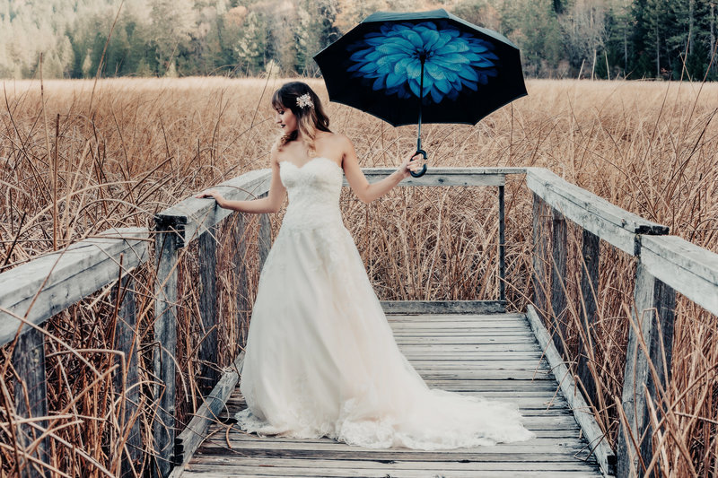 bridal portrait with umbrella