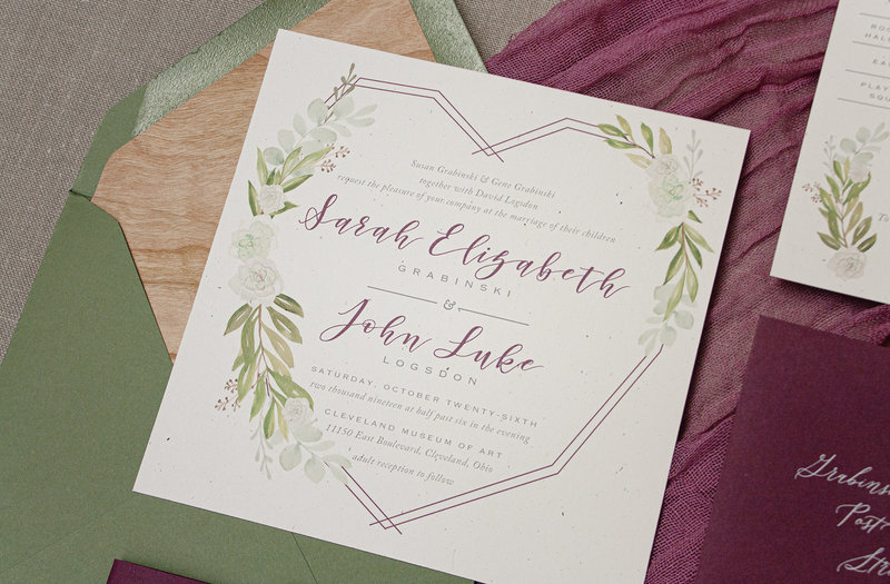Watercolor invitation featuring succulents, olive branches and eucalyptus. Includes a custom map of Cleveland, Ohio and a fun response card all printed on 100% recycled card-stock.