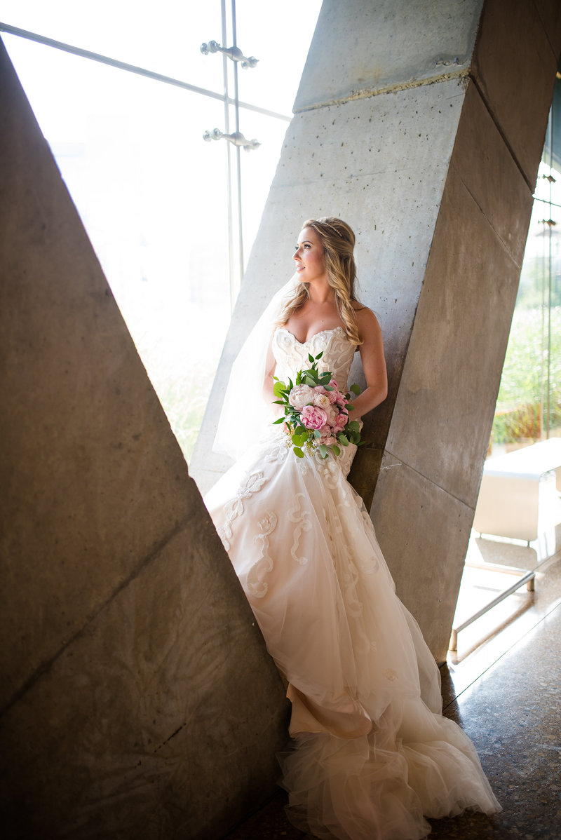 Bride at Perot Museum by Dallas Wedding Photographer