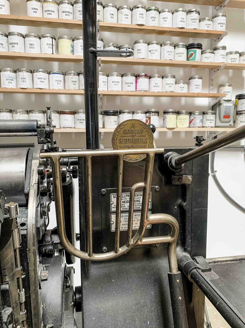 vintage Heidelberg press in southern California print shop