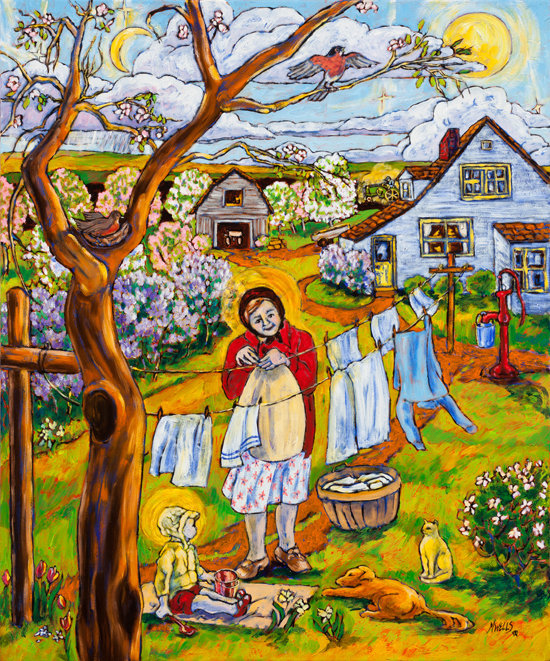 Oil painting, Naïve style, of a farm woman with child in America, the new land, the land of hope and so much hard work.