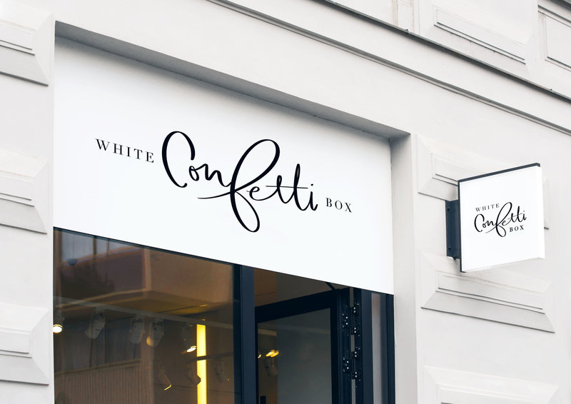 Hand lettered logo design for White Confetti Box by Just Like White