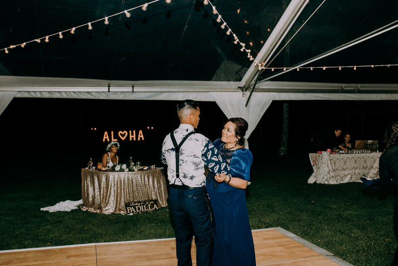 mother and son wedding dance at kualoa ranch