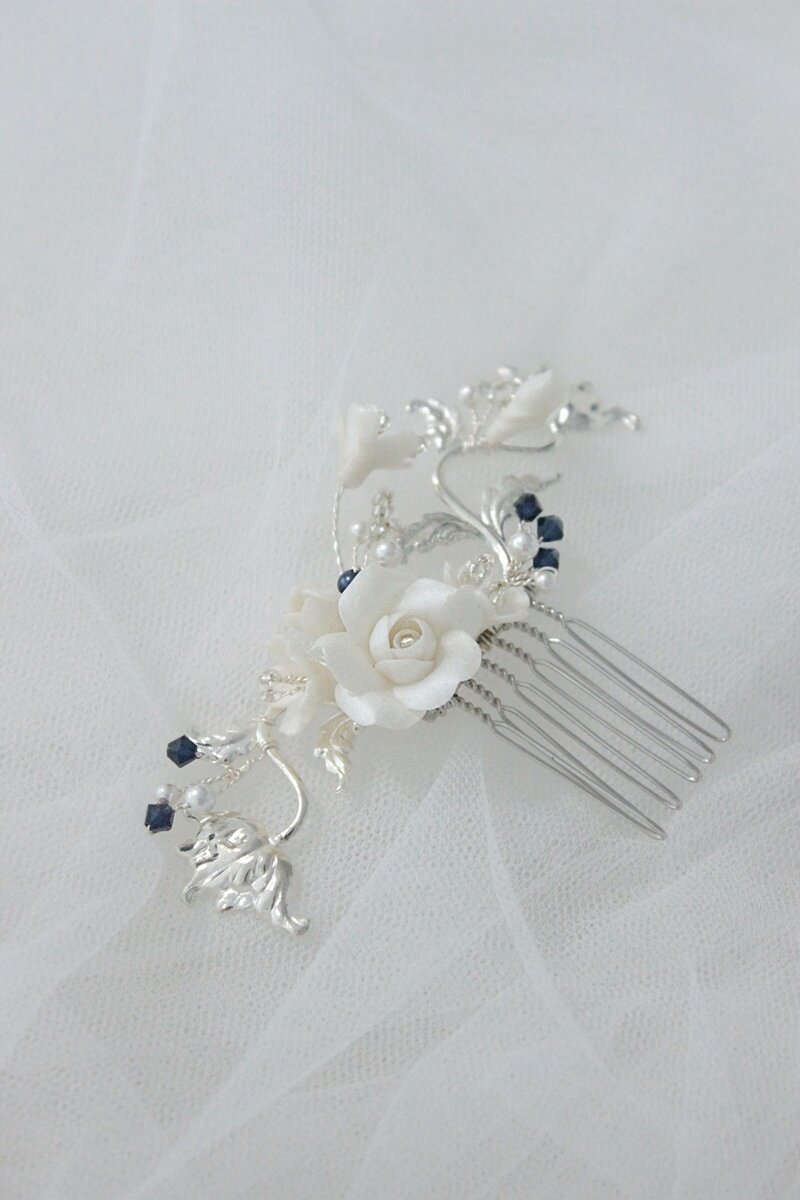 Handmade hair comb with silver plated leaves, clay flowers pearls and navy blue crystals made in Sydney Australia