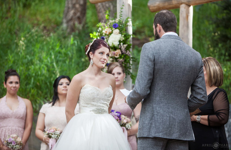 Pretty summer wedding on the Evergreen Terrace at Pines at Genesee