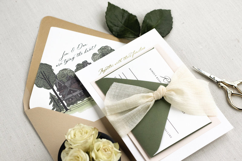 Showing the full Timeless Elegance Suite with all of the Bells & Whistles – lux ribbon and a watercolor envelope liner.