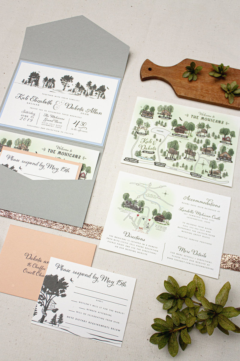 Mohican landscape pocket fold wedding invitation with  a custom map of The Mohicans and The Grand Barn as well as the surrounding areas.