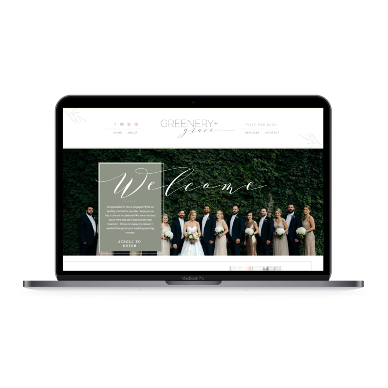 Greenery and Grace homepage displayed on laptop.