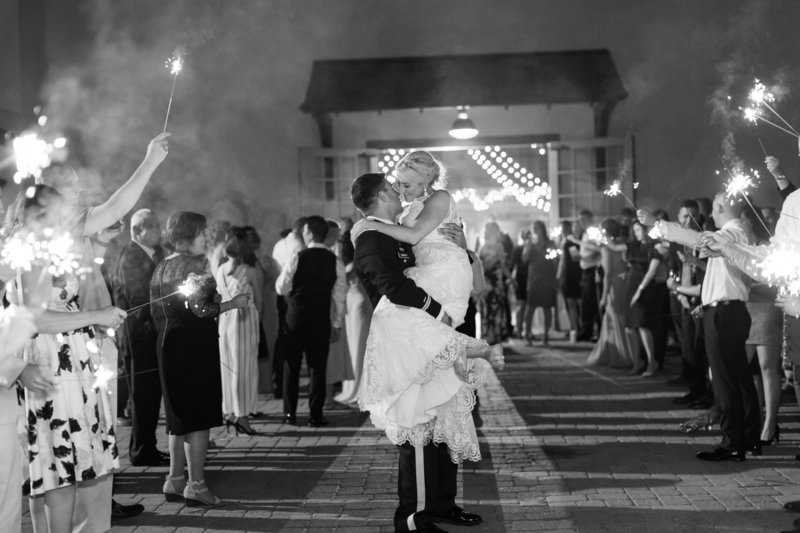 Sparkler Exit from an Elegant Military Wedding at the Fair Barn in Pinehurst NC