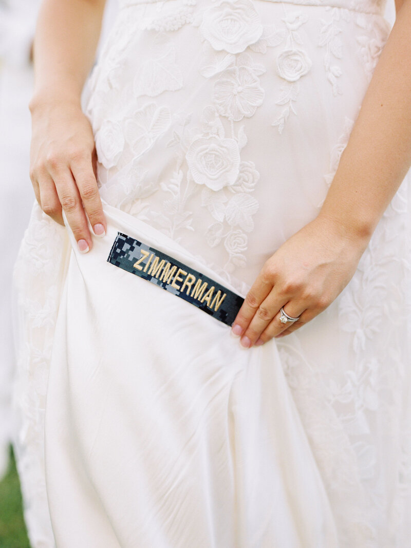 Navy Nameplate sewn into wedding dress