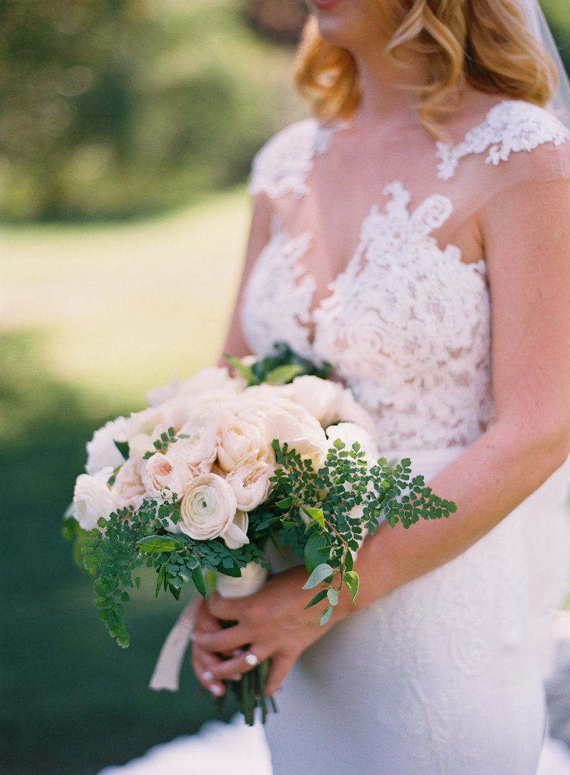 Bridal bouquet for wedding by Jenny Schneider Events at Meadowood luxury resort in Saint Helena in Napa Valley, California. Photo by Eric Kelley Photography.