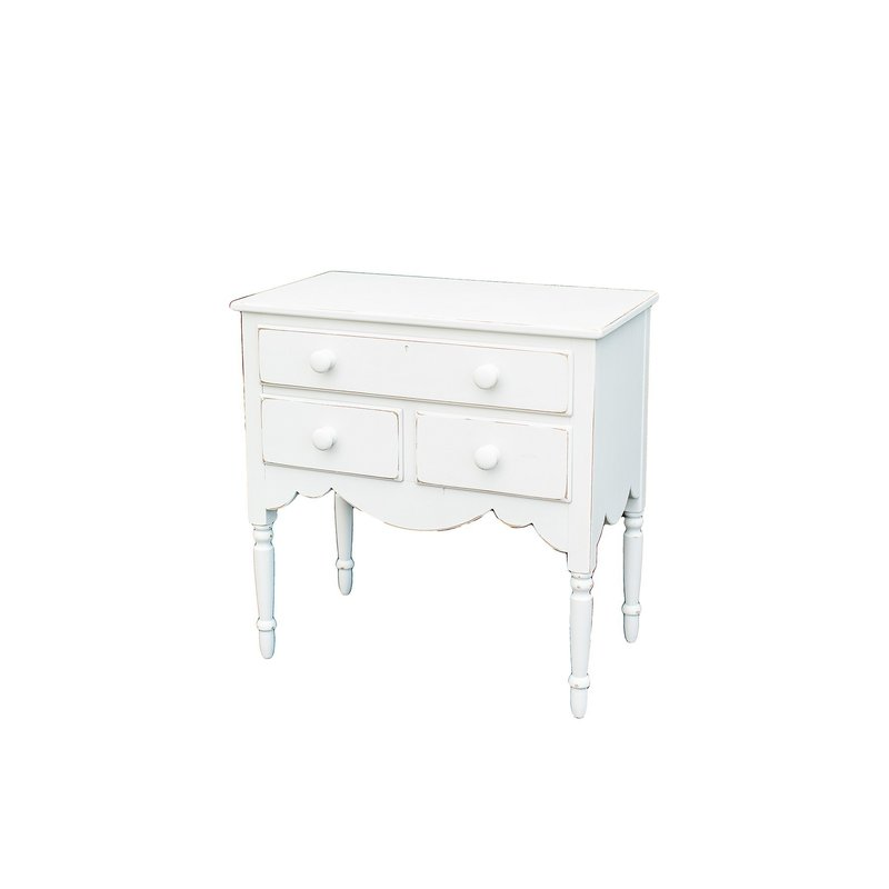 Vintage, white distressed, small dresser with drawers.