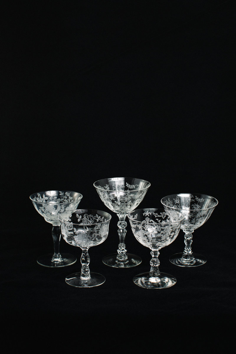Vintage Etched Champagne Coupes