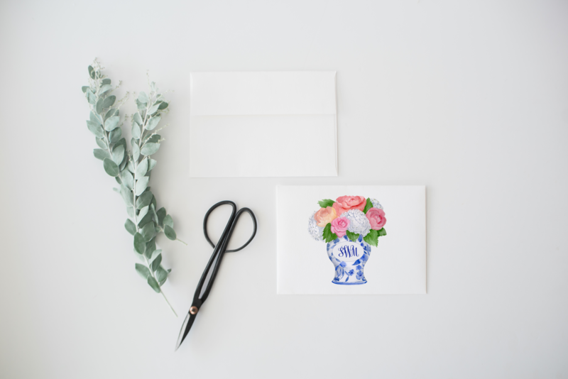 Monogram Ginger Jar Stationery 1 Mockup