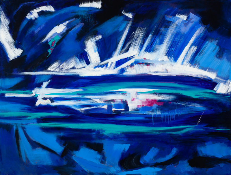 blue abstract expressionist oil painting based on Rilke poem.