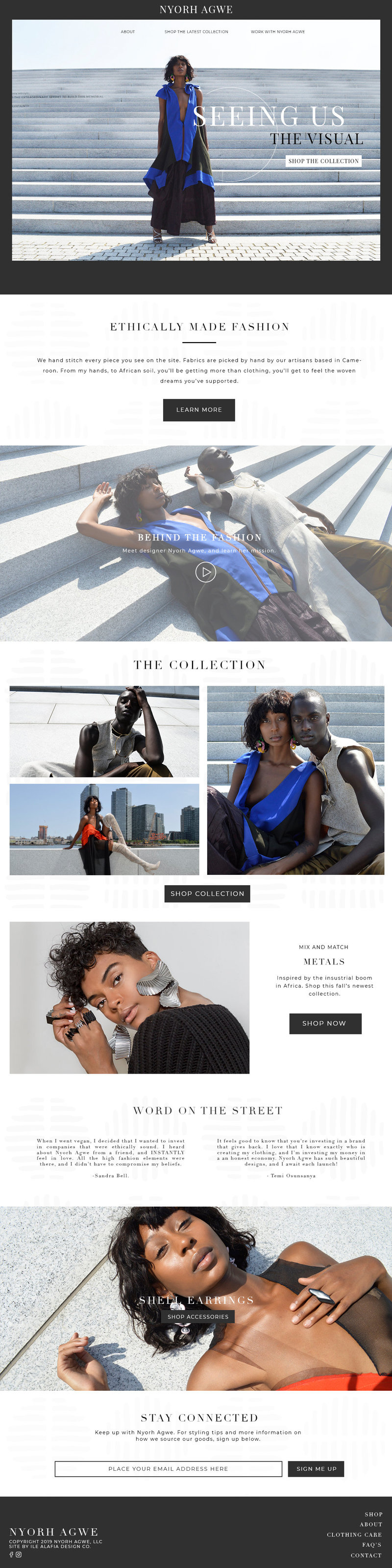 E-Commerce site design for Nyorh Agwe by Ile Alafia Design Co.