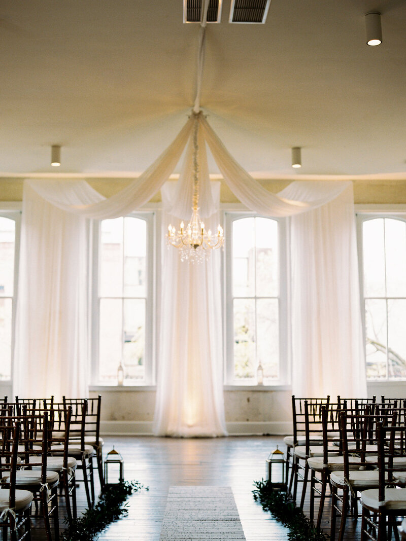 Romantic draped indoor ceremony at Excelsior in Lancaster, Pennsylvania