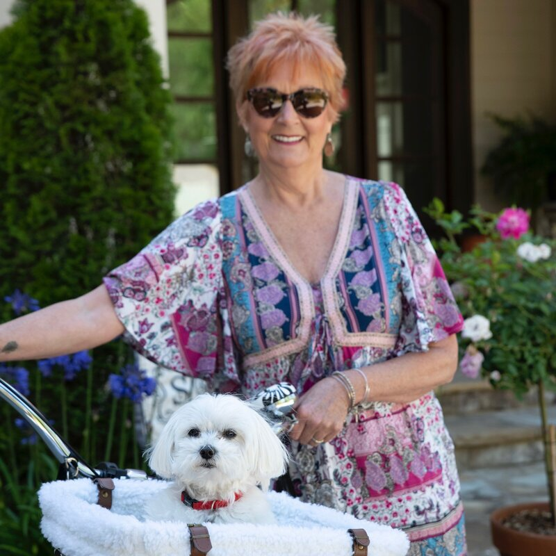 Jane Shine with small white dog