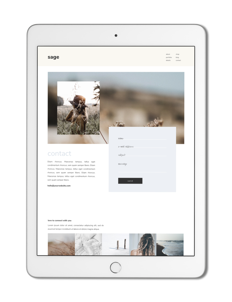 The Roar Showit Web Design Creative Website Business Template Ipad Sage 2