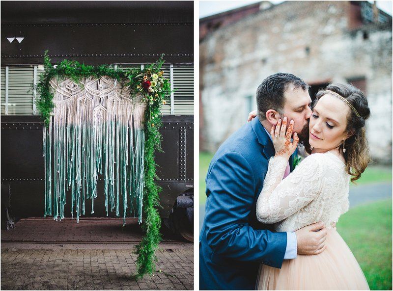 colorful bohemian savannah wedding at railroad museum
