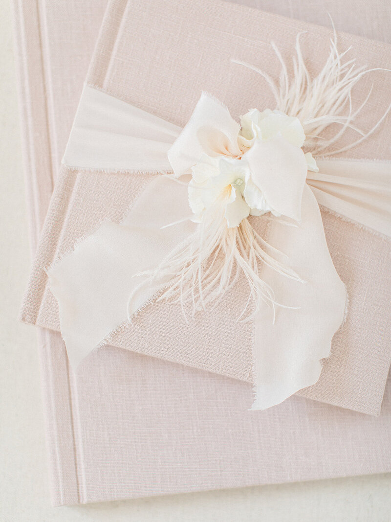 Fine Art Linen wedding and engagement album in blush