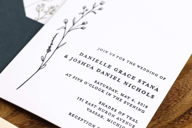 Letterpress wedding invitation from Brittney Nichole Designs