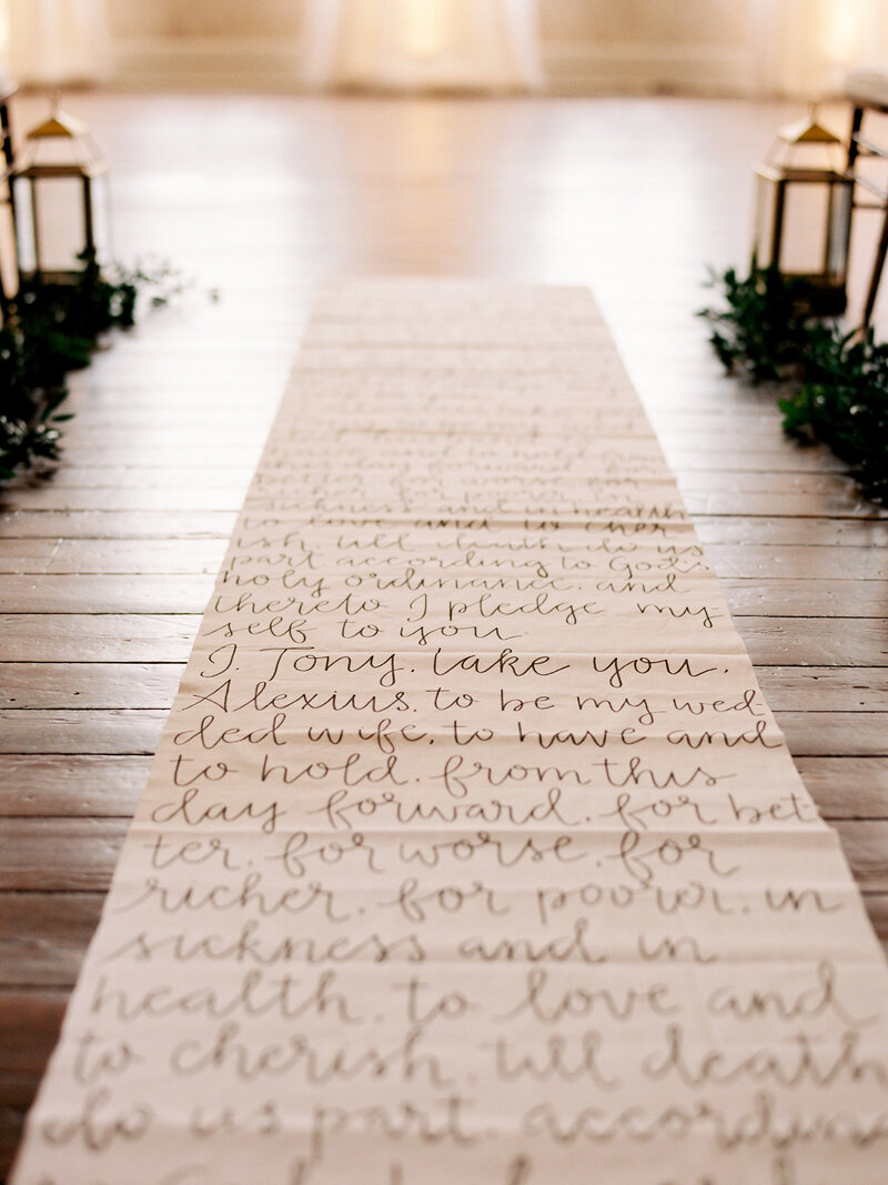 Custom handwritten aisle runner with vows