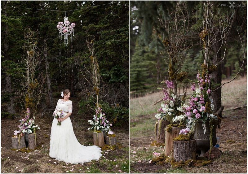 Forest Bride with pink and lavendar florals at Mountain View Ranch in CO