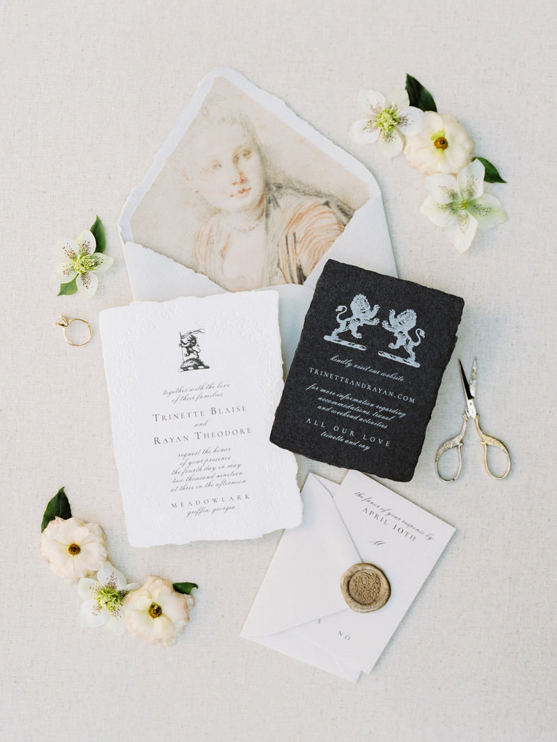 Black and White Wedding Invitation Suite with Flowers
