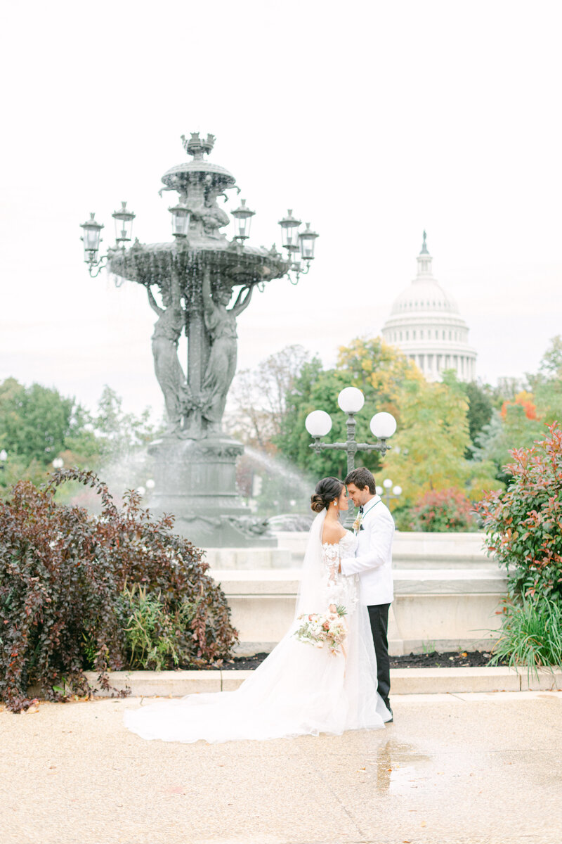 bride and groom portraits near botanical gardens in Washington DC Romantic Classic Wedding at the Lincoln Memorial by Costola Photography