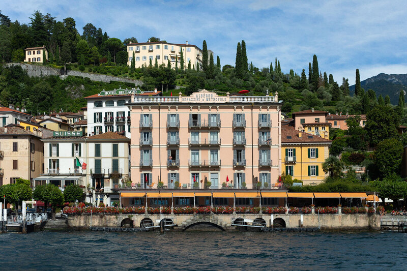 View of Bellagio Lake Como Italy buildings from water