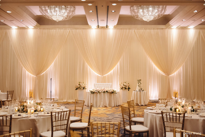 WM Four Seasons Ocean Ballroom ivory pipe & drape sweetheart table ivory matte satin