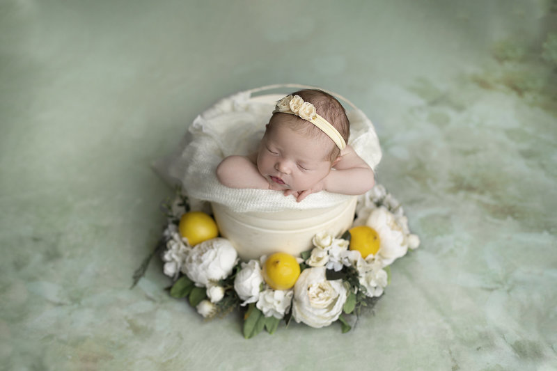 columbus ohio newborn photographer baby girl with mint white florals and lemons you are my sunshine