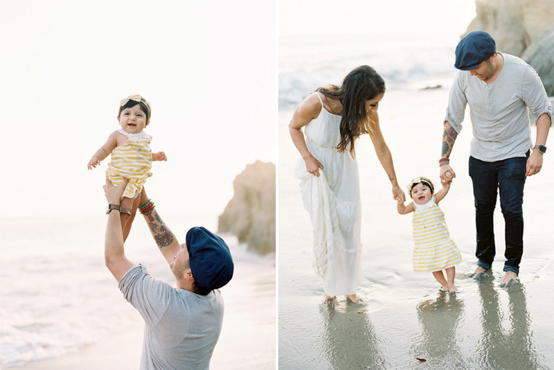 Family playing with their toddler daughter at El Matador beach in Malibu, CA