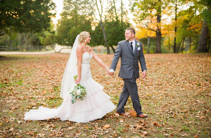 blush wedding dress in fall