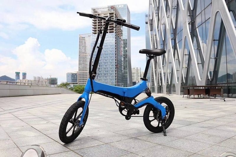 Blue Go-Bike with building in background;V&D Electric Bikes