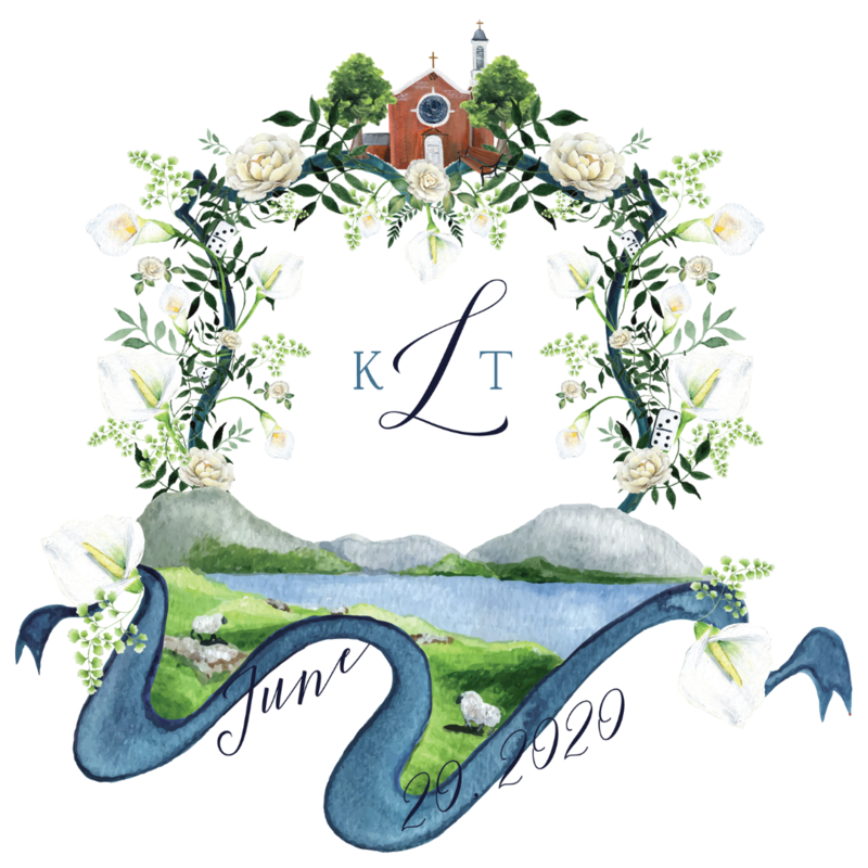 Custom watercolor wedding crest with church venue painting and Irish landscape