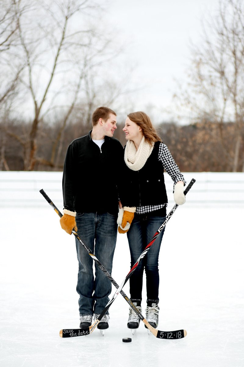 Minnesota Winter Hockey Engagement Pictures