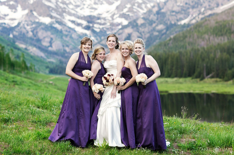 Mountain view backdrop for formal wedding portrait at Piney River Ranch